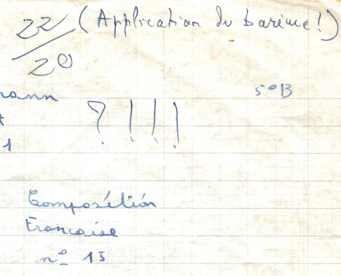 copie d'élève d'une composition française notée 22 sur 20
