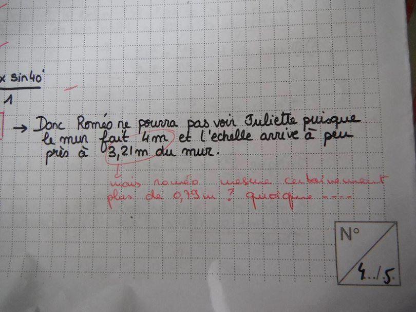 copie d'élève en mathématiques avec un problème sur Roméo et Juliette