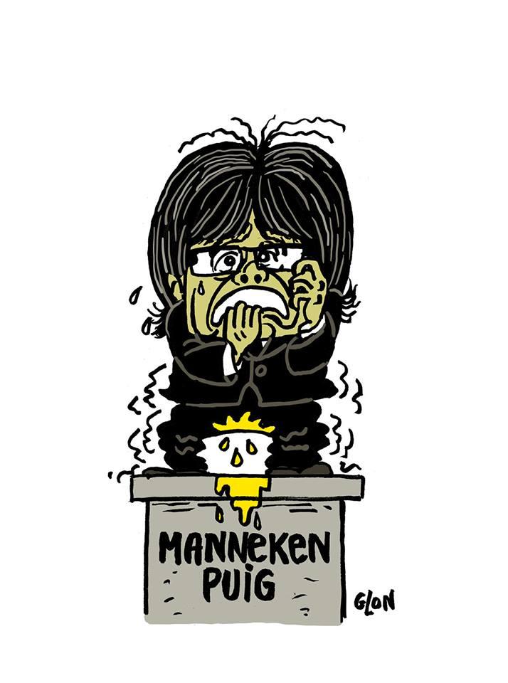 dessin humoristique de Carles Puigdemont en Manneken-Pis