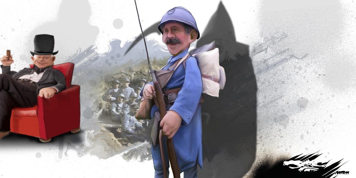 dessin humoristique d'un poilu de la Grande Guerre et d'un milliardaire qui à profité de l'impôt du sang