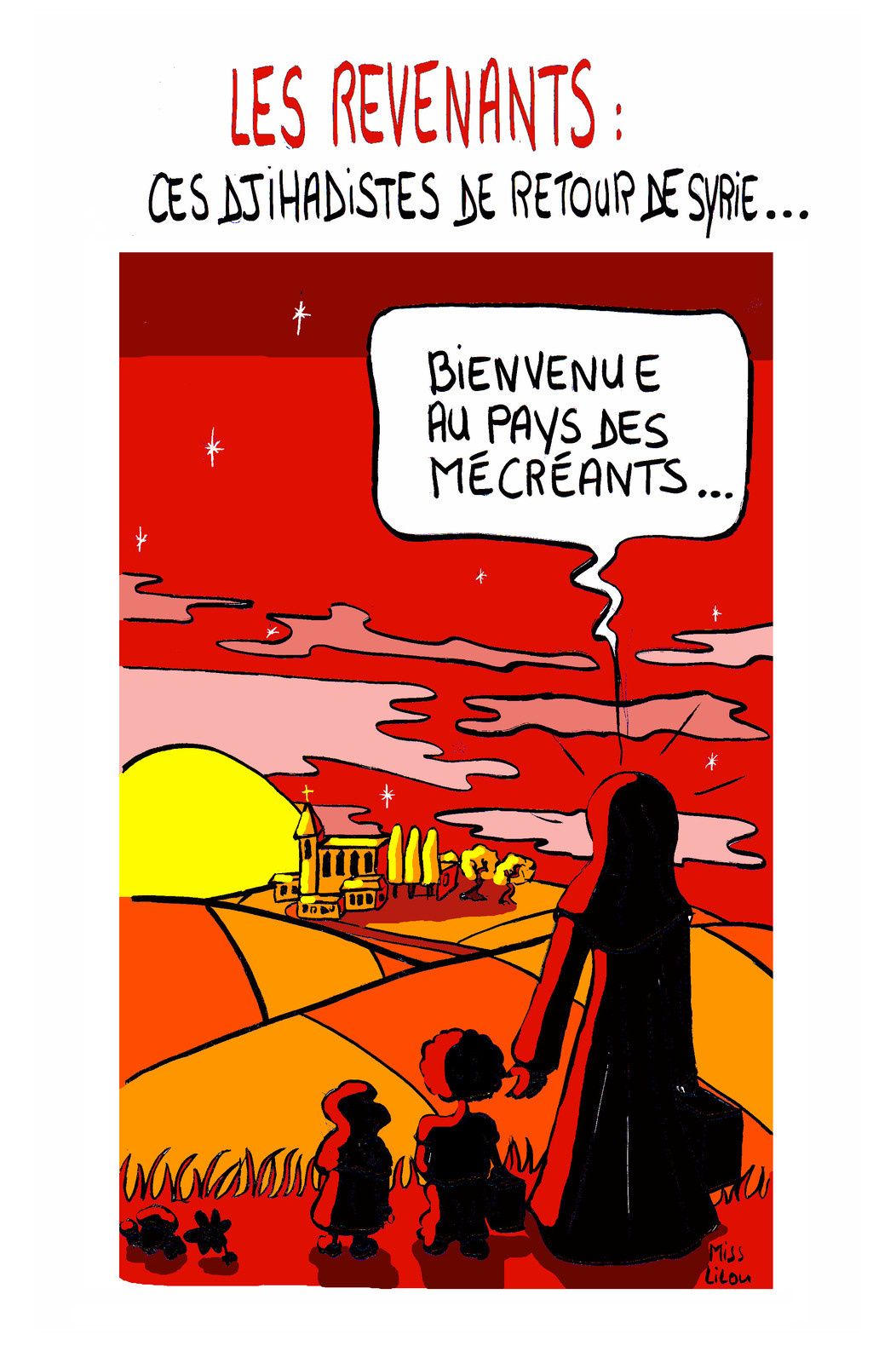 dessin humoristique d'une djihadiste qui rentre en France avec ses deux enfants
