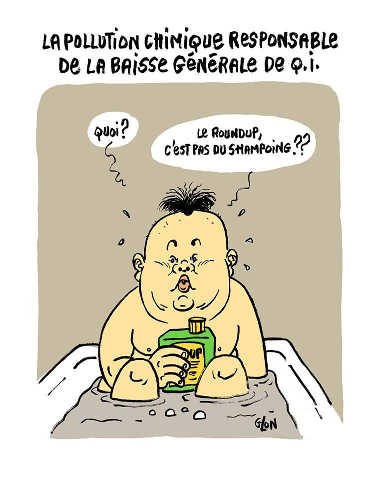 dessin humoristique de Kim Jong-un dans son bain avec un flacon de Roundup comme shampoing