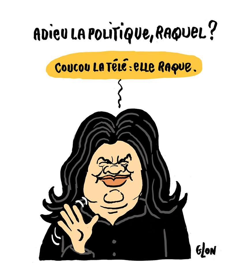 dessin humoristique de Raquel Garrido disant adieu à sa carrière politique et bonjour à la télé
