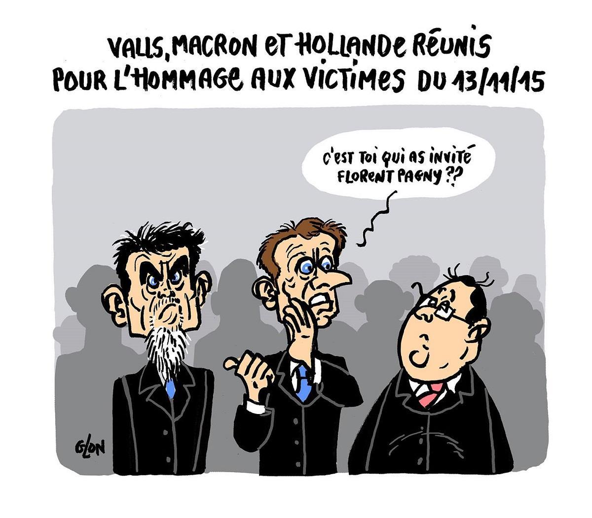 dessin humoristique de François Hollande, Manuel Valls et Emmanuel Macron rassemblés pour l'hommage aux victimes du 13 novembre 2015