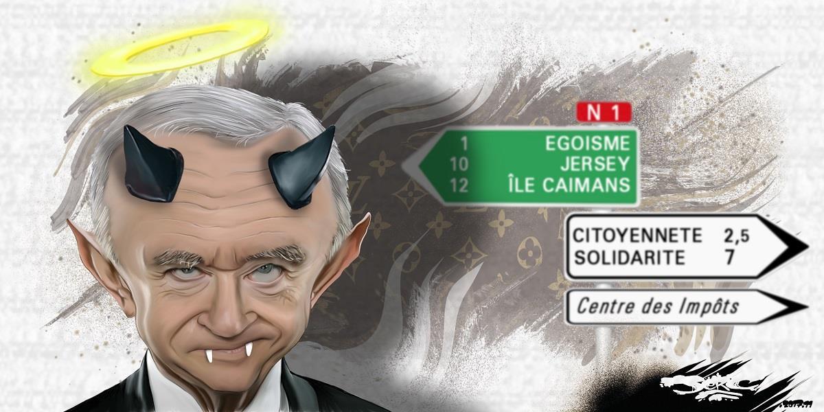 dessin humoristique de Ber,ard Arnault en vampire