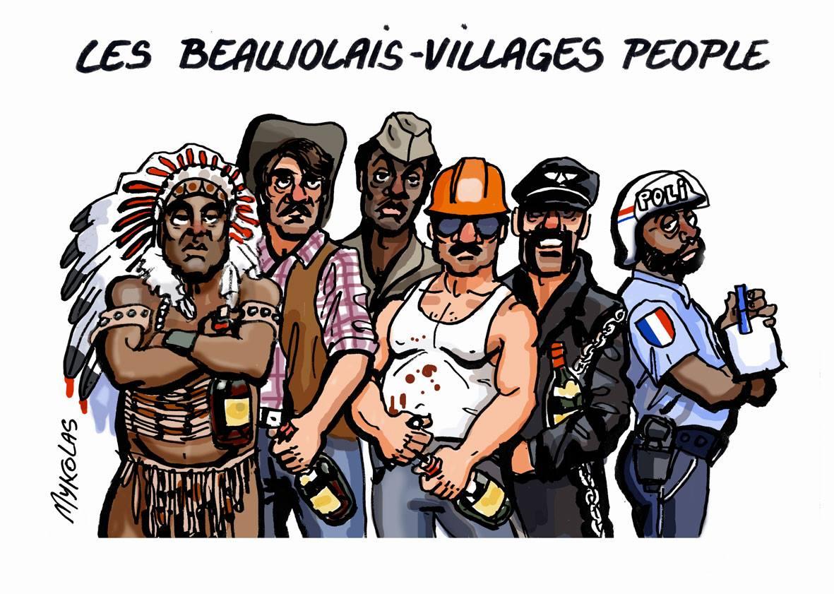 dessin humoristique des Village People fêtant le Beaujolais nouveau