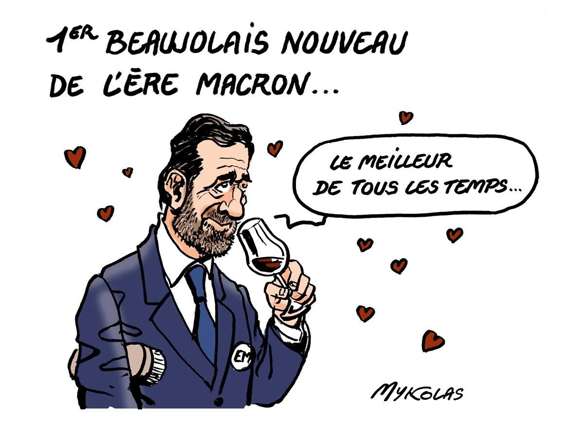 dessin humoristique de Philippe Castaner en train de goûter le premier Beaujolais de la Présidence Macron