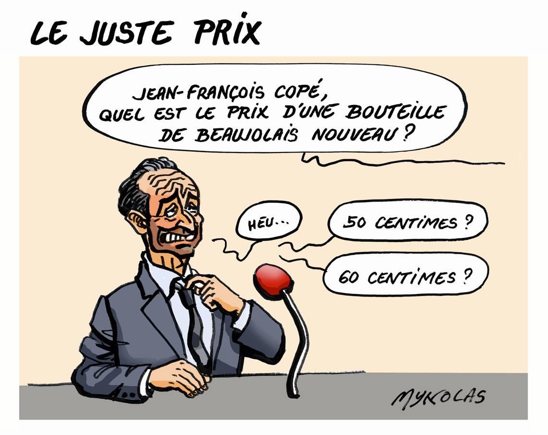 dessin humoristique de Jean-François Copé interrogé sur le prix du Beaujolais nouveau
