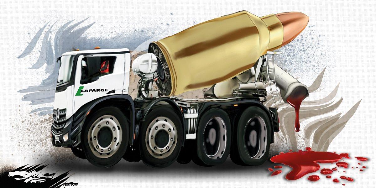 dessin humoristique d'un camion de LafargeHolcim en Syrie, une balle chargée de sang