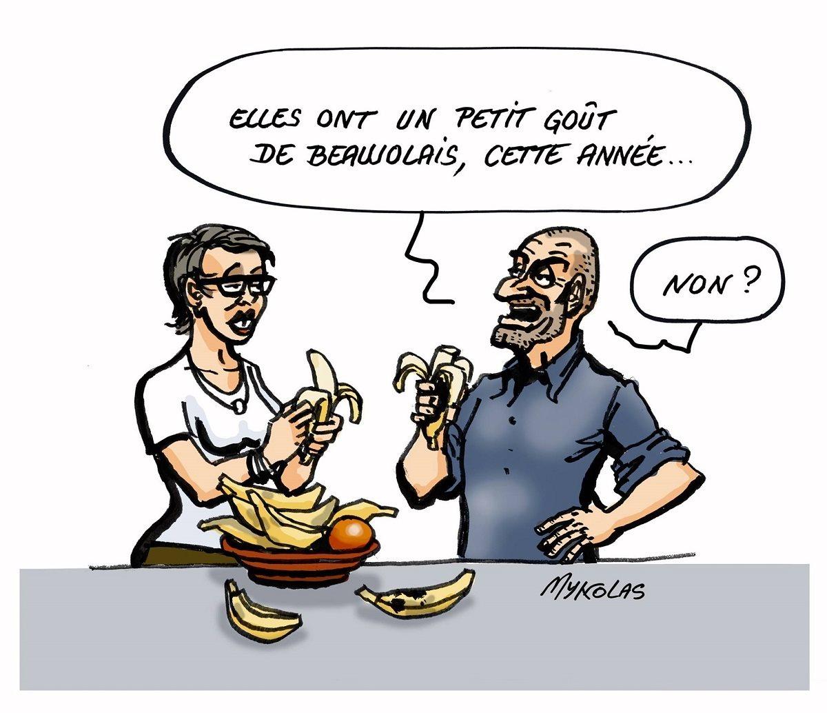 dessin humoristique d'un couple qui goûte des bananes ayant le goût de Beaujolais nouveau