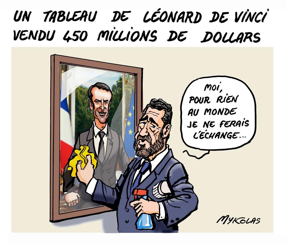 dessin humoristique de Philippe Castaner en train d'astiquer le portrait d'Emmanuel Macron