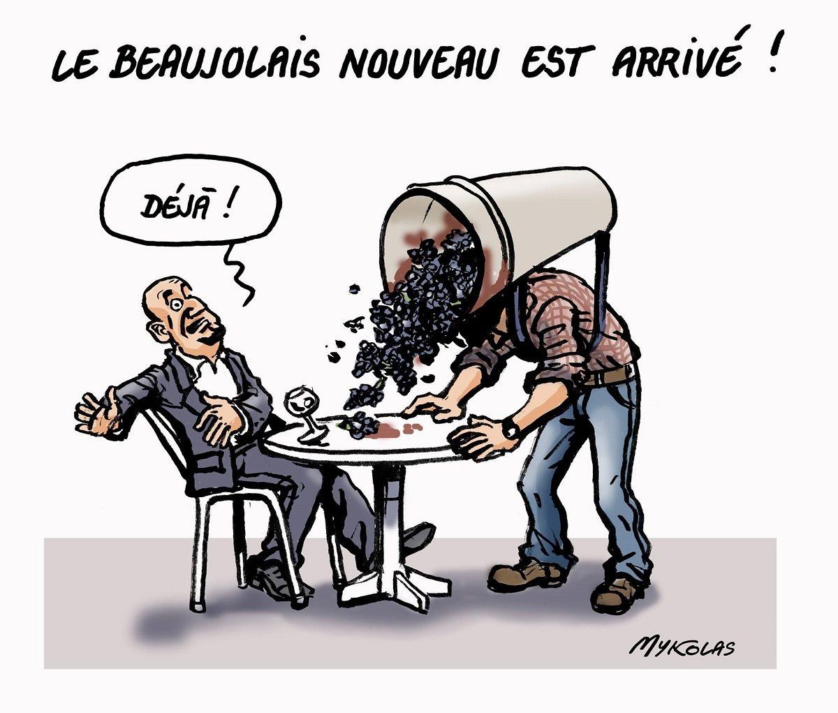 dessin humoristique d'un client à un bar devant lequel un viticulteur vide une vendage de Beaujolais nouveau