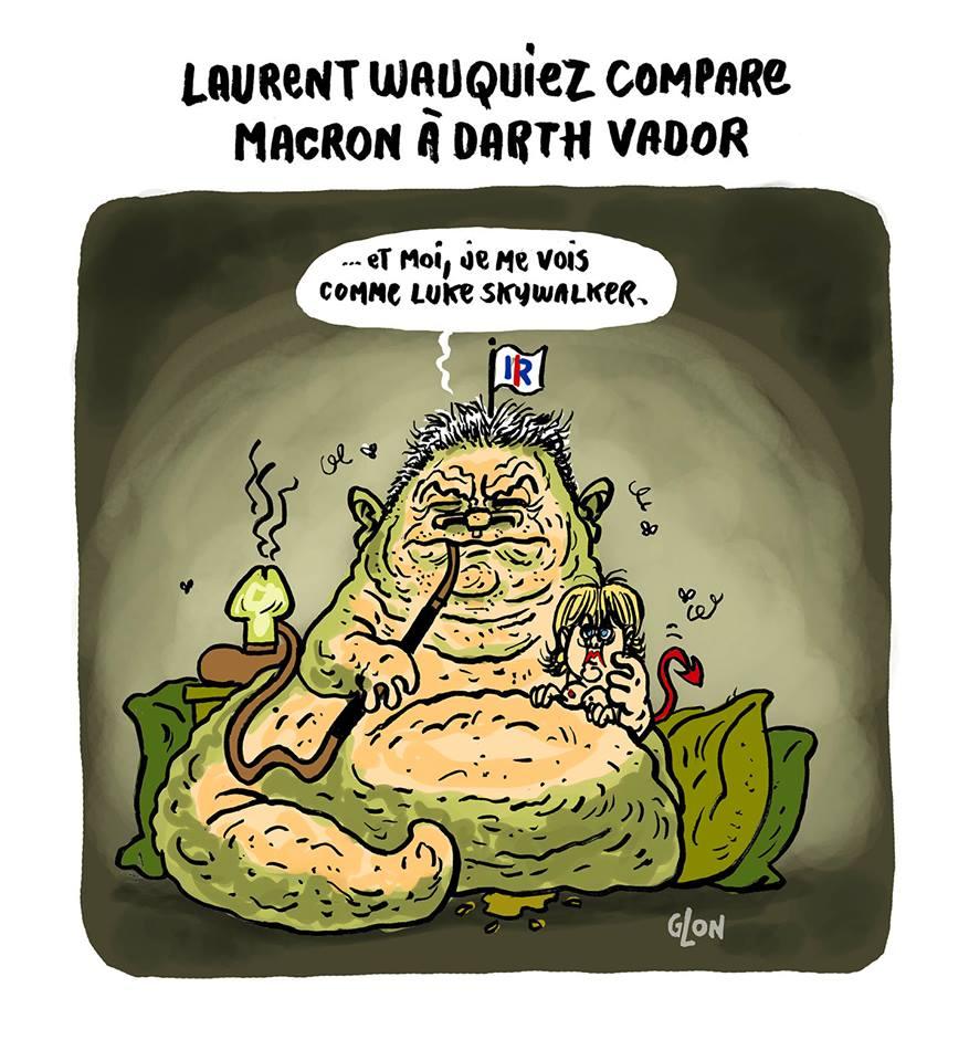 dessin humoristique de Laurent Wauquiez en Jabba the Hutt avec Nadine Morano