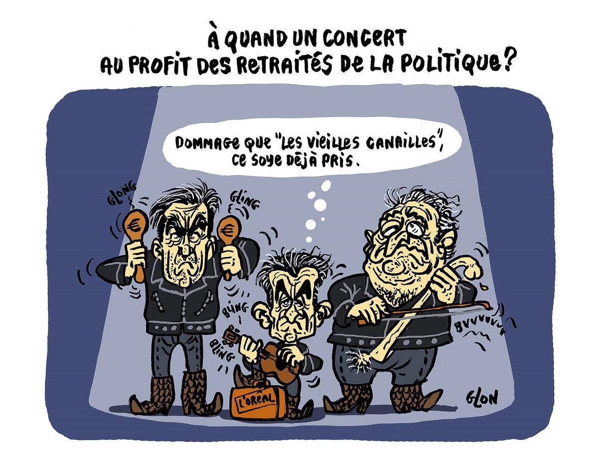 dessin humoristique de François Fillon, Nicolas Sarkozy et Dominique Strauss-Kahn sur scène en train de donner un concert
