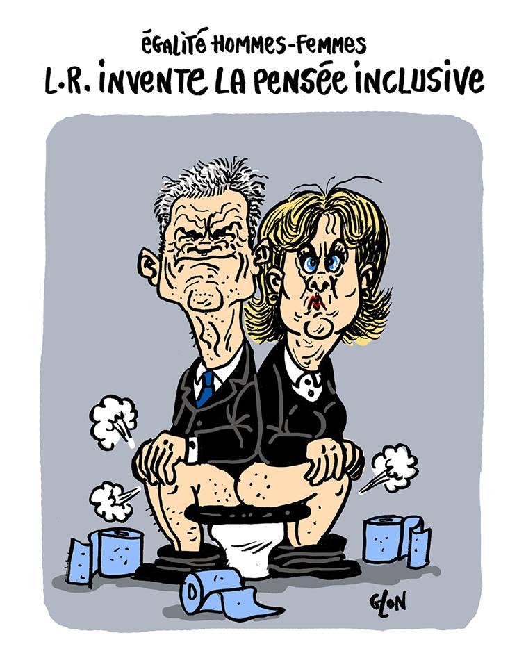 dessin humoristique de Laurent Wauquiez et Nadine Morano assis sur le même siège de toilettes