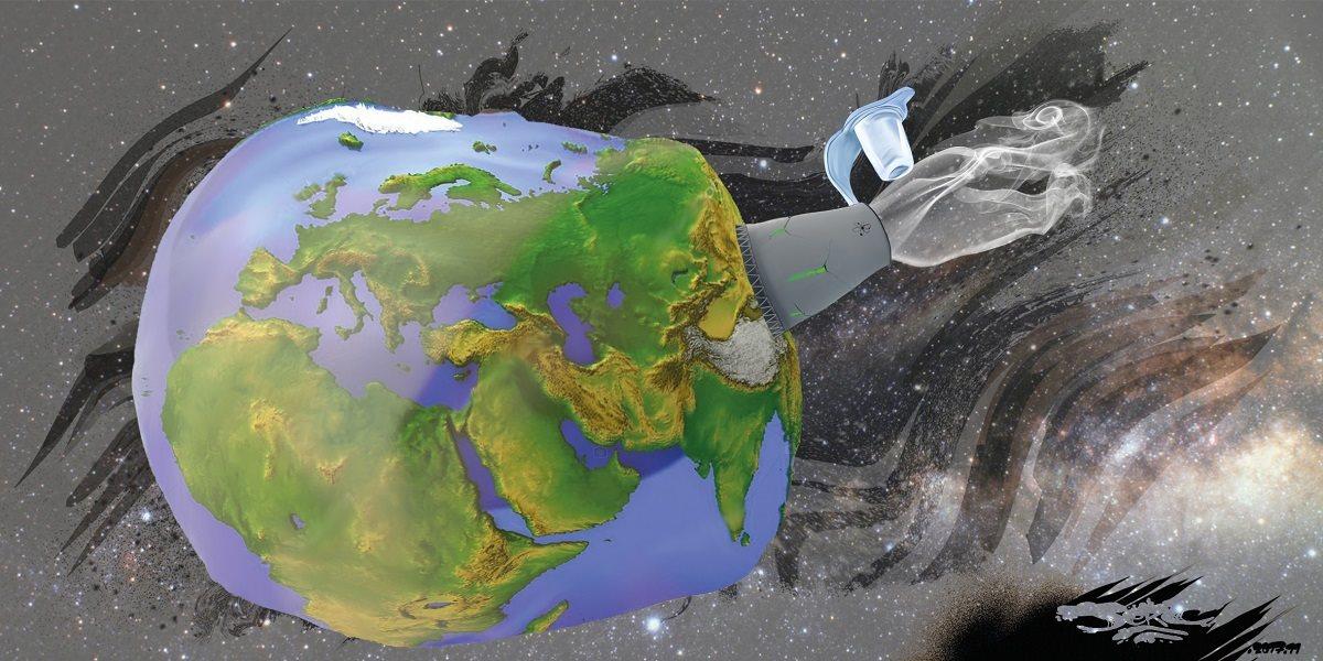 dessin humoristique de la planète Terre en train de se dégonfler par une valve nucléaire