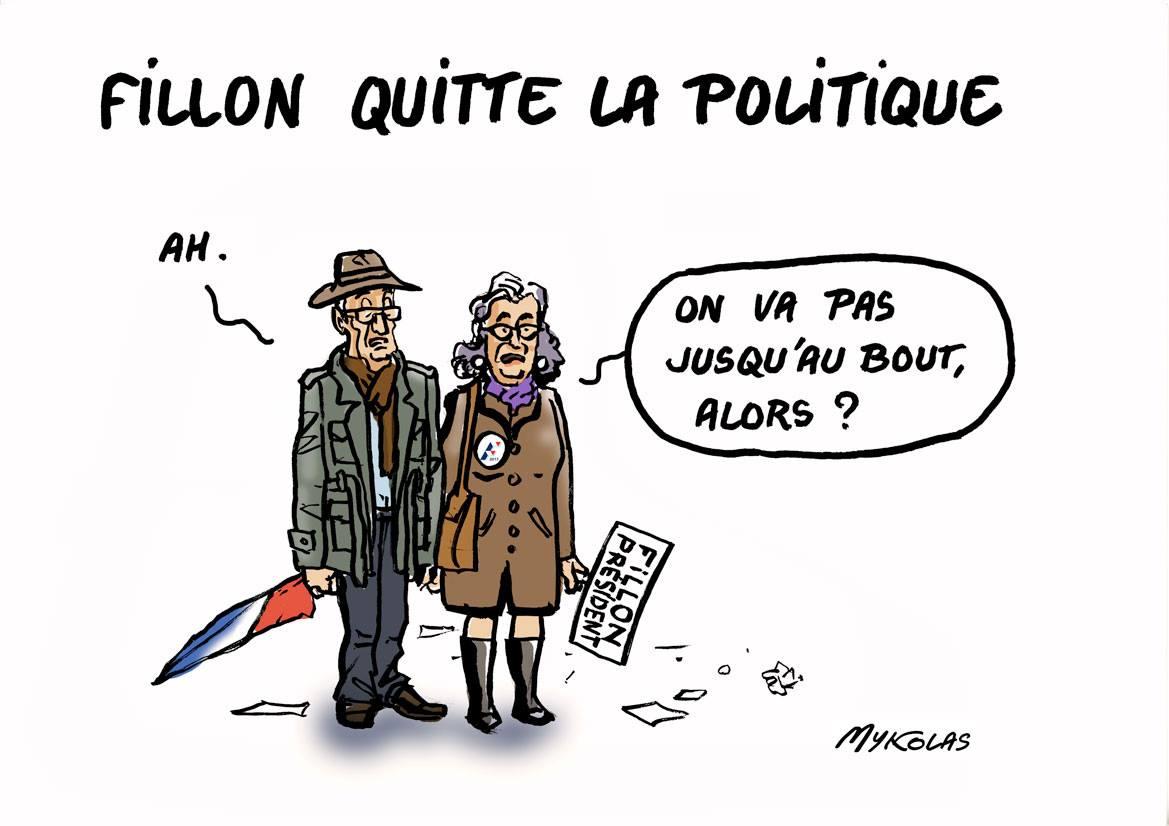 dessin humoristique d'électeurs déçus en apprenant que François Fillon quitte la politique