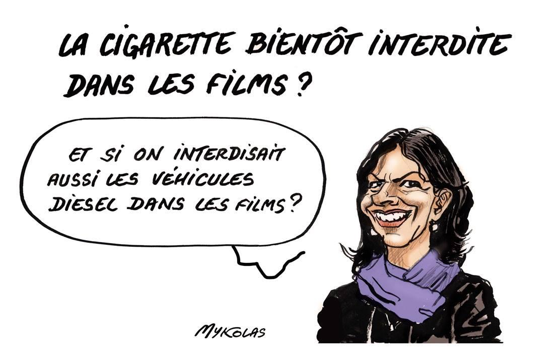 dessin humoristique d'Anne Hidalgo en train de parler de l'interdiction de la cigarette dans les films