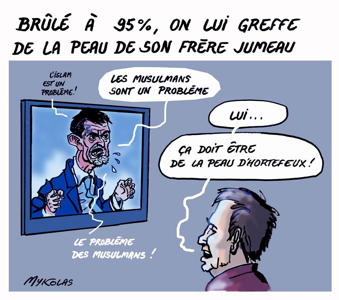 dessin humoristique de Manuel Valls parlant en boucle du problème des musulmans et de l'islam