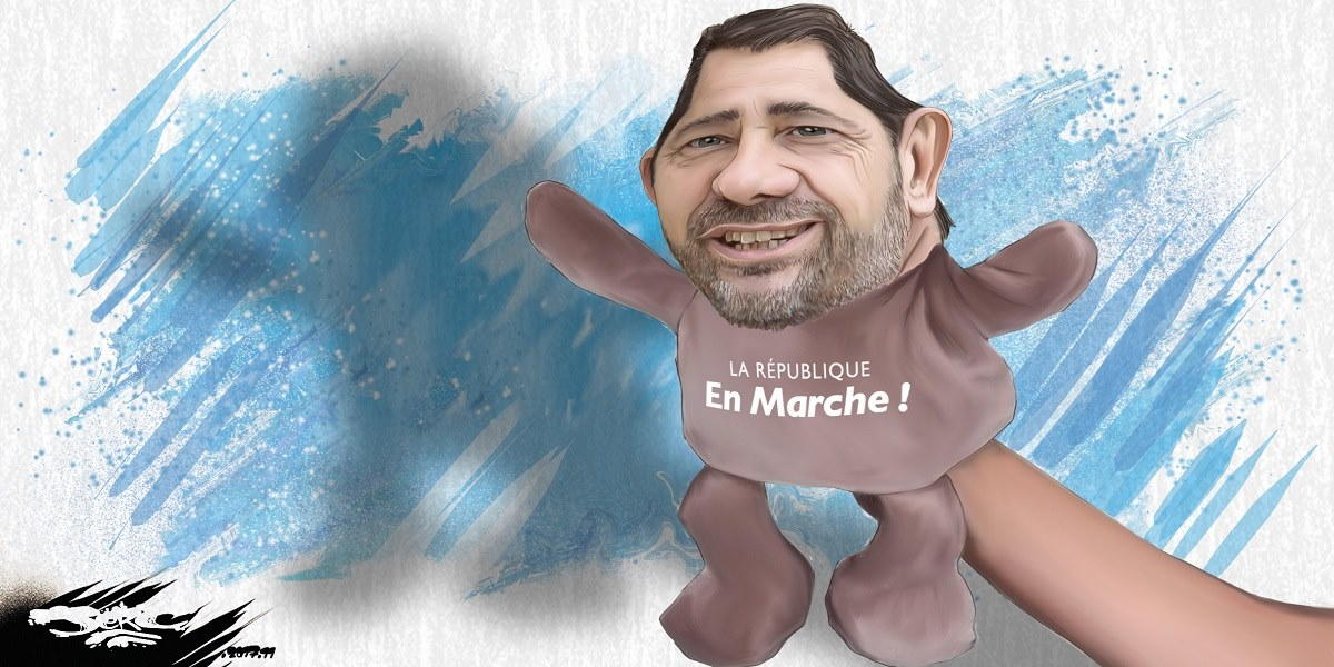 dessin humoristique de la marionnette Christophe Castaner, soi-disant président de La République en Marche
