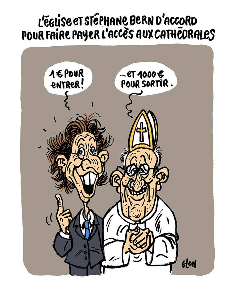dessin drôle de Stéphane Bern et du Pape François parlant de l'accès payant aux cathédrales