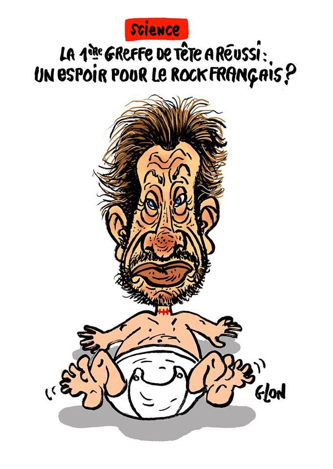 dessin drôle de la tête de Johnny Hallyday greffée sur un bébé