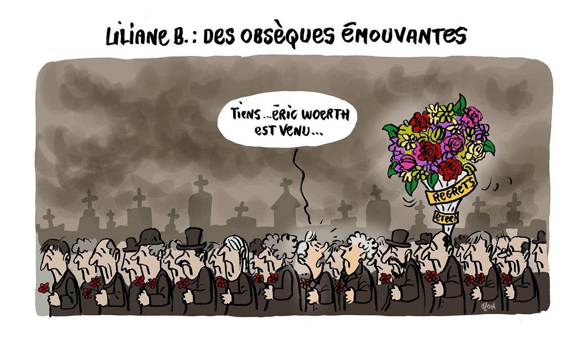 dessin humoristiques d'Eric Woerth aux obsèques de Liliane Bettencourt
