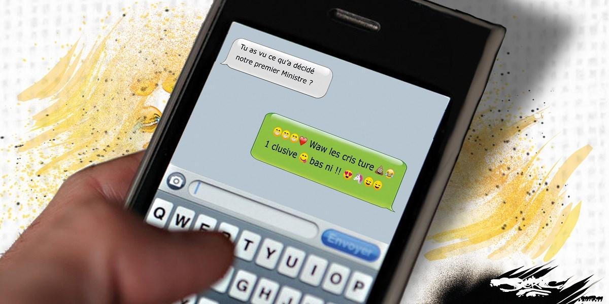 dessin humoristique d'une discussion SMS à propos de l'écriture inclusive