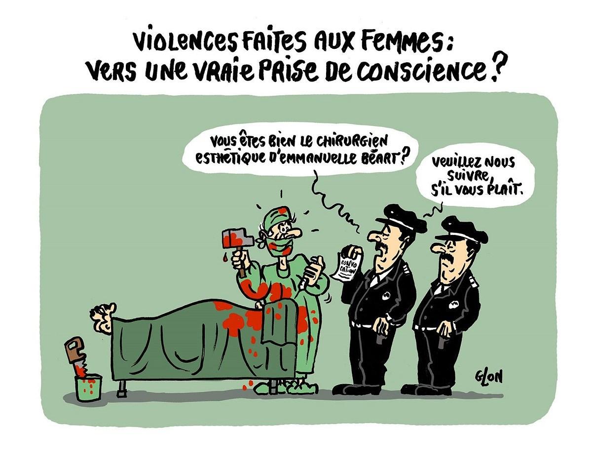 dessin drôle de l'arrestation du chirurgien esthétique d'Emmanuel Béart dans le cadre des violences faites aux femmes