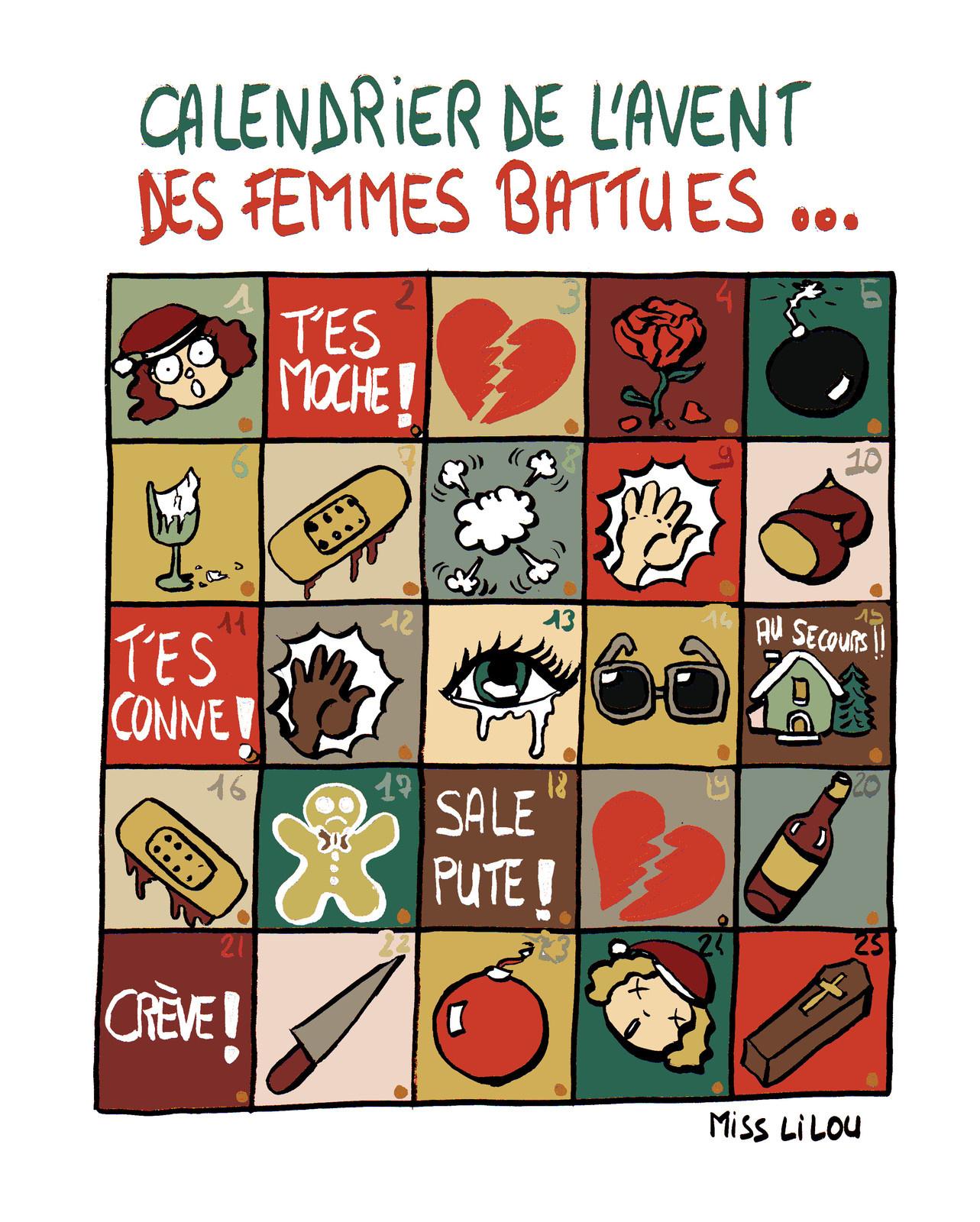 dessin humoristique d'un calendrier de la violence faites aux femmes