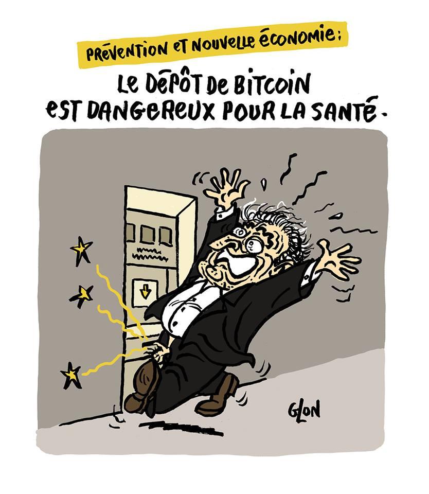 dessin drôle de Dominique Strauss-Kahn qui se coince le pénis dans un distributeur d'argent