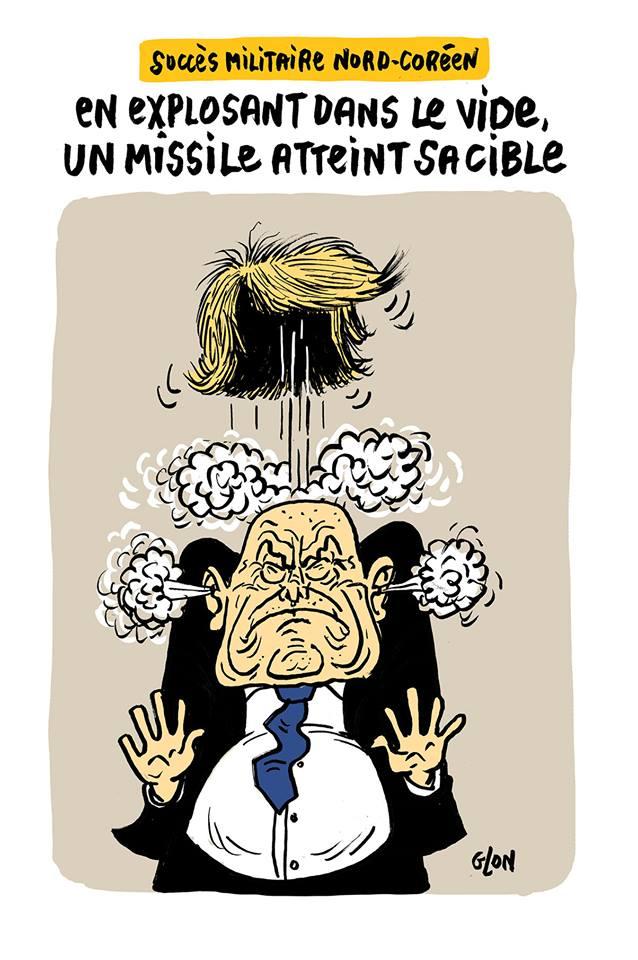 dessin humoristique de Donald Trump en train d'exploser suite à l'essai d'un missile par la Corée du Nord