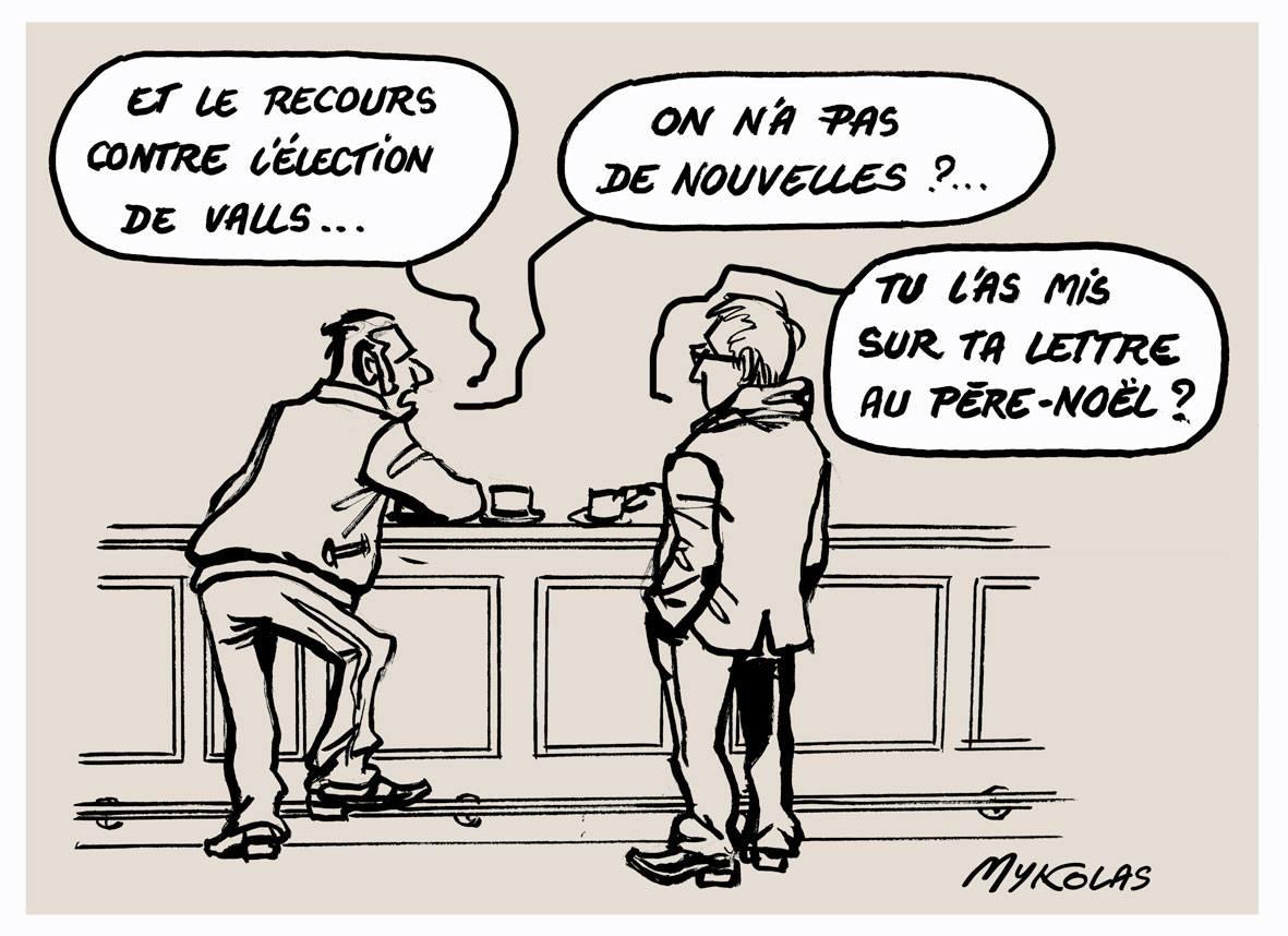 dessin humoristique de deux personnes au comptoir d'un bar en train de discuter de l'élection de Manuel Valls