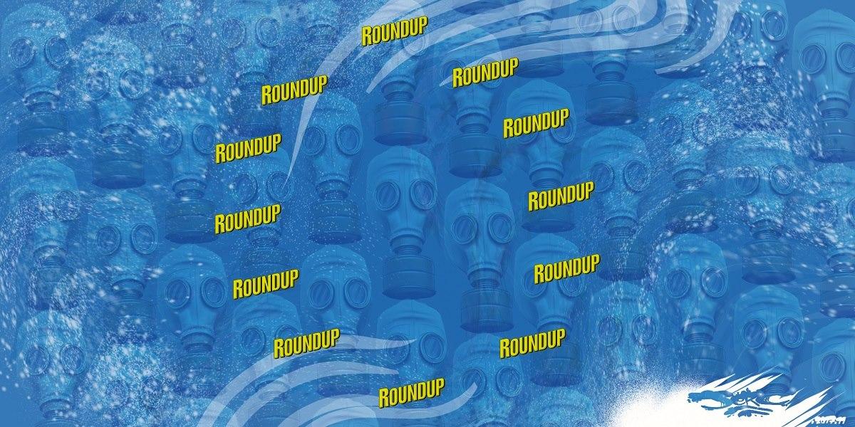 dessin drôle du drapeau de l'Europe empoisonnée par le Glyphosate et le Roundup sur ofn de masques à gaz