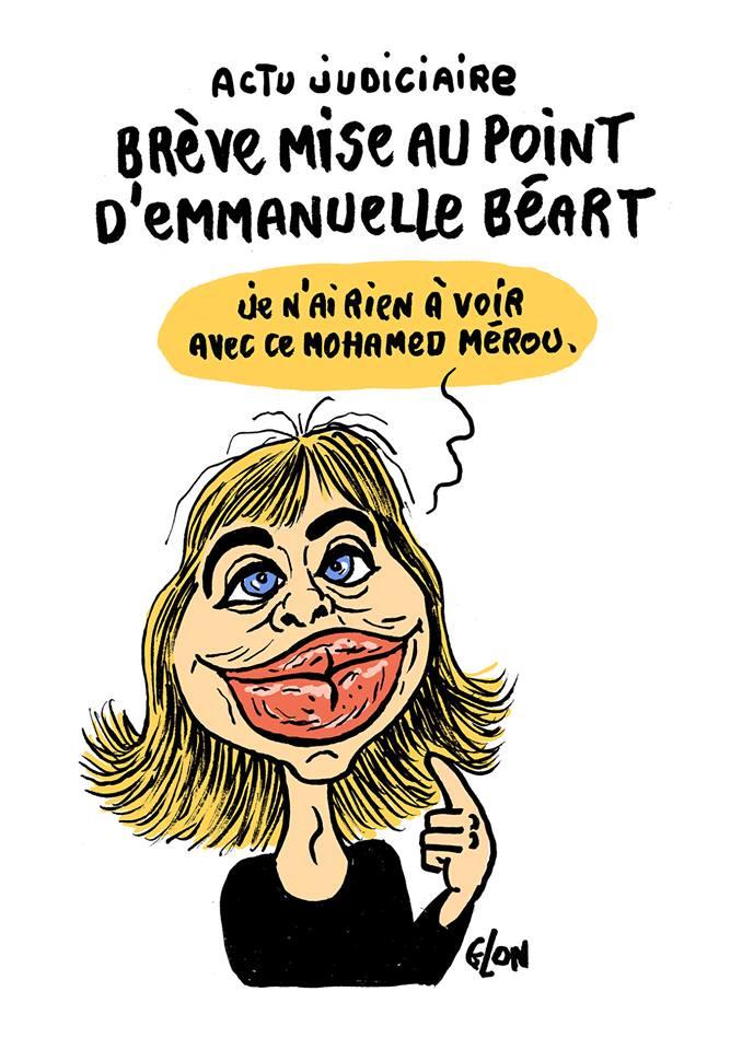 dessin humoristique d'Emmanuel Béart qui parle du procès Merah