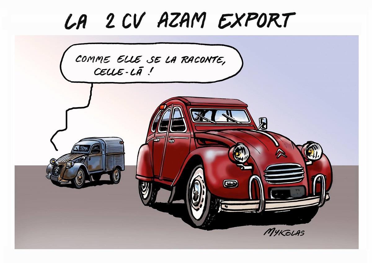 dessin humoristique d'une 2 cv AZAL Export à l'occasion de la visite de Mykolas au salon Epoq'auto à l'Eurexpo de Lyon