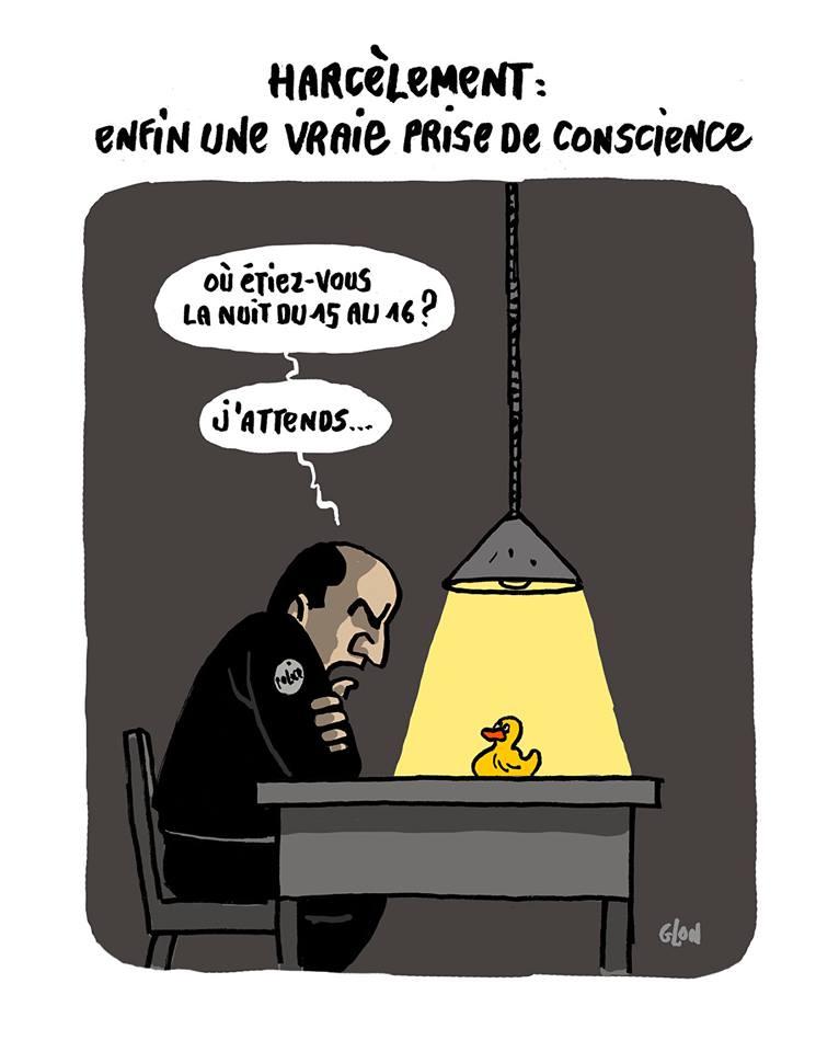dessin humoristique d'un canard sextoy interrogé en garde à vue
