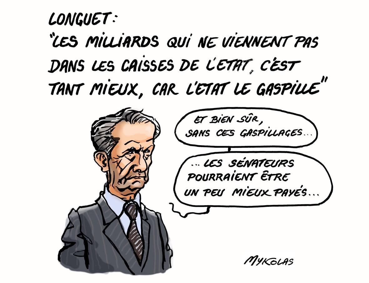 dessin humoristique de Gérard Longuet qui tente de justifier l'évasion fiscale