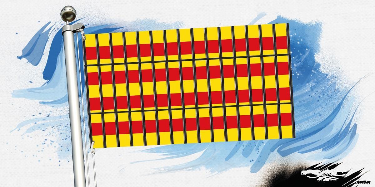 dessin humoristique du drapeau catalan derrière des barreaux de prison