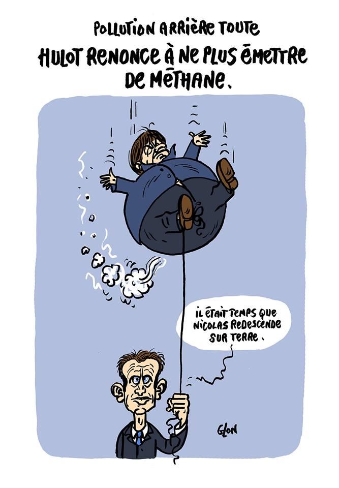 dessin humoristique d'Emmanuel Macron tenant la baudruche Nicolas Hulot
