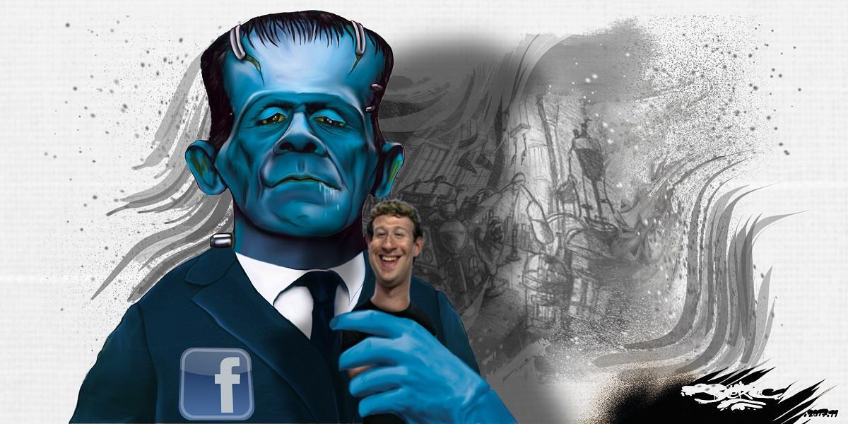 dessin humoristique de Facebook en monstre de Frankenstein tenant Mark Zuckerberg