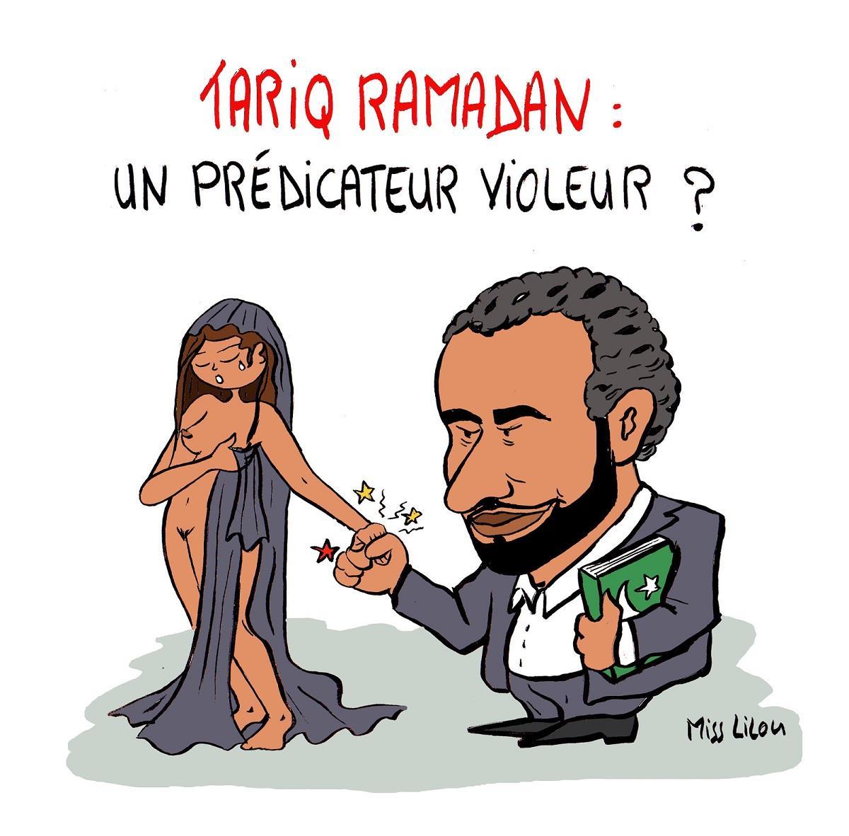 dessin humoristique de Tariq Ramadan tenant fermement la main d'une femme