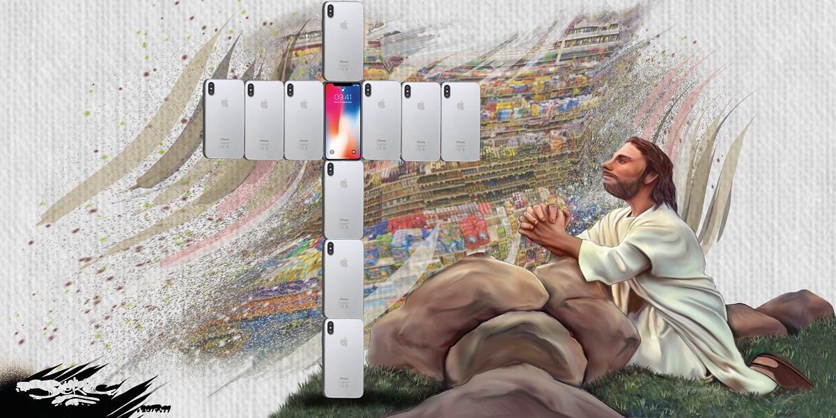 dessin humoristique d'une croix d'iPhone X, la nouvelle religion du peuple