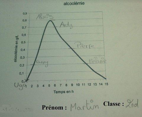 copie d'élèves illustrant le taux d'alcoolémie dans le temps et l'état de ses camarades de classe