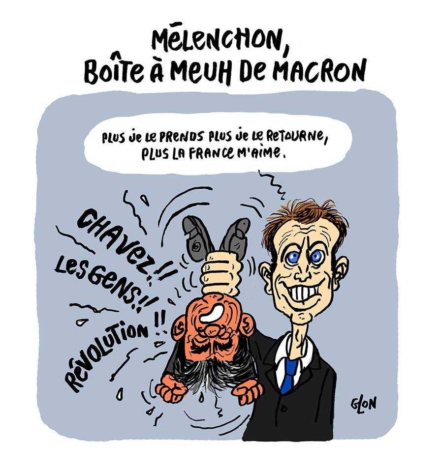 dessin drôle d'Emmanuel Macron tenant par les pieds Jean-Luc Mélenchon