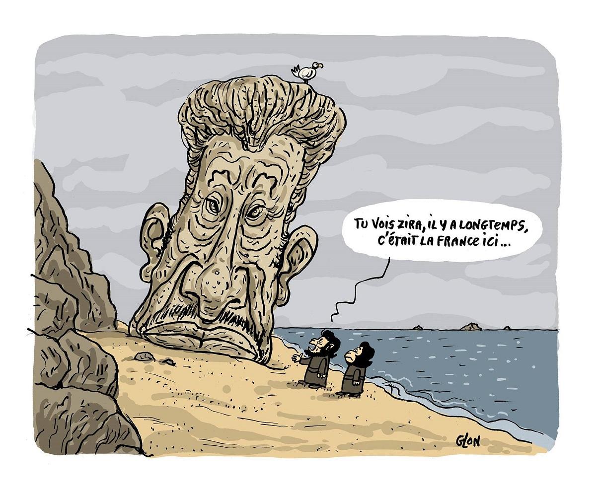 dessin humoristique des singes de la planète des singes découvrant une statue de Johnny Hallyday