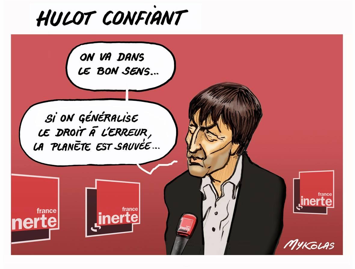 dessin humoristique de Nicolas Hulot interviewé