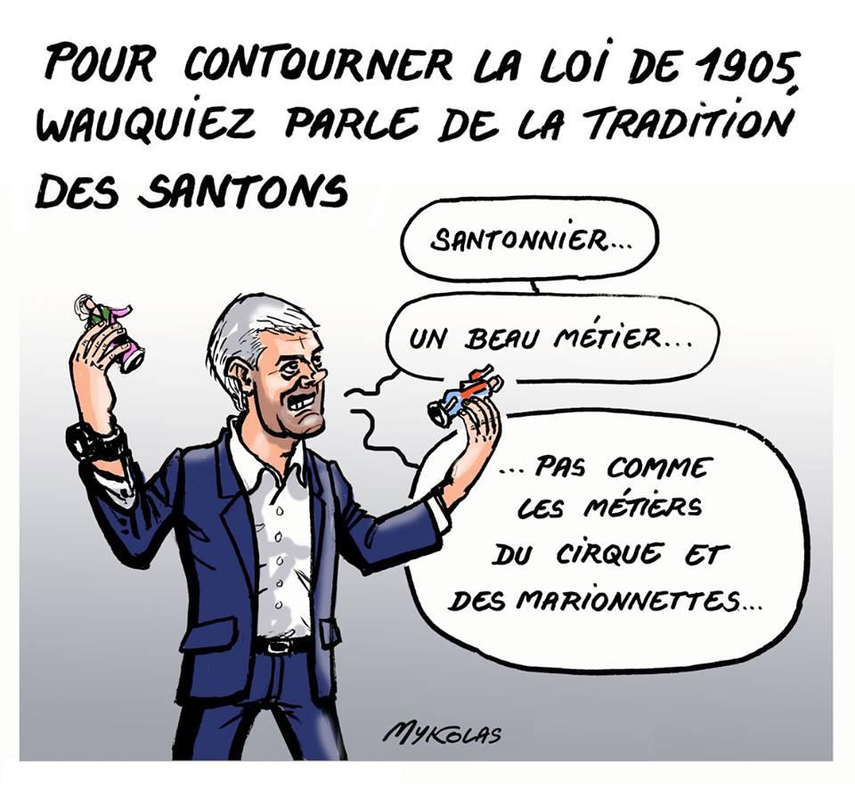 dessin humoristique de Laurent Wauquiez qui joue avec des santons