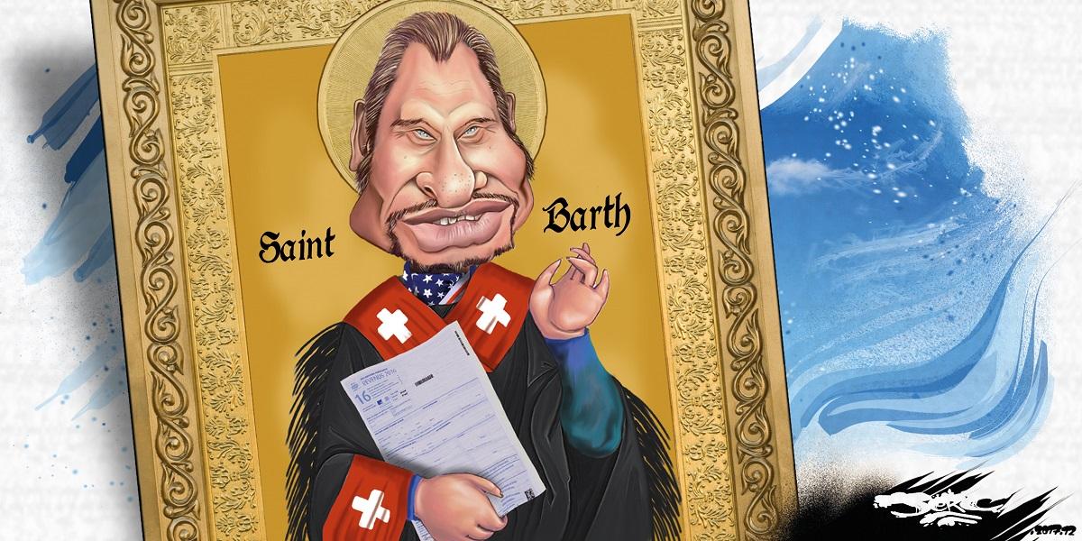 dessin humoristique d'une icône de Saint Johnny Hallyday