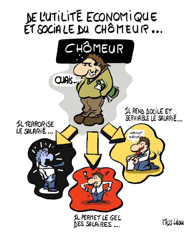 dessin humoristique d'un chômeur et de son effet sur les salariés